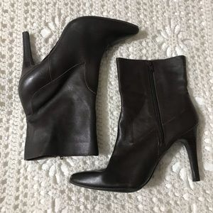 Nine West Brown Leather Point Toe Heel Boots 10.5